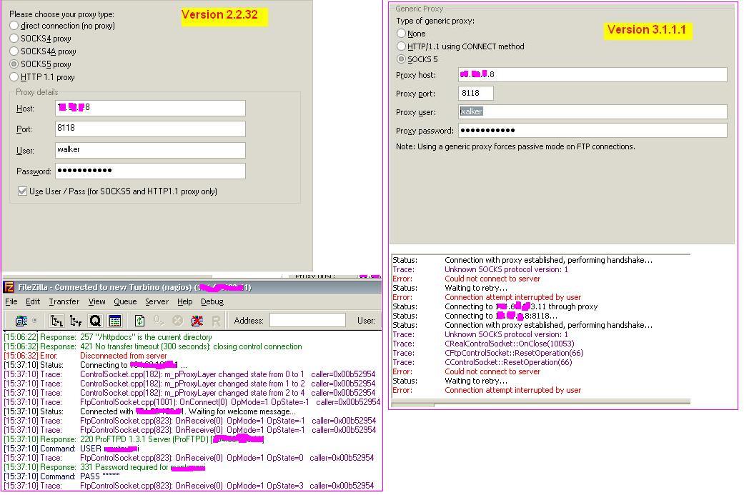 3689 (Unknown SOCKS protocol version) – FileZilla