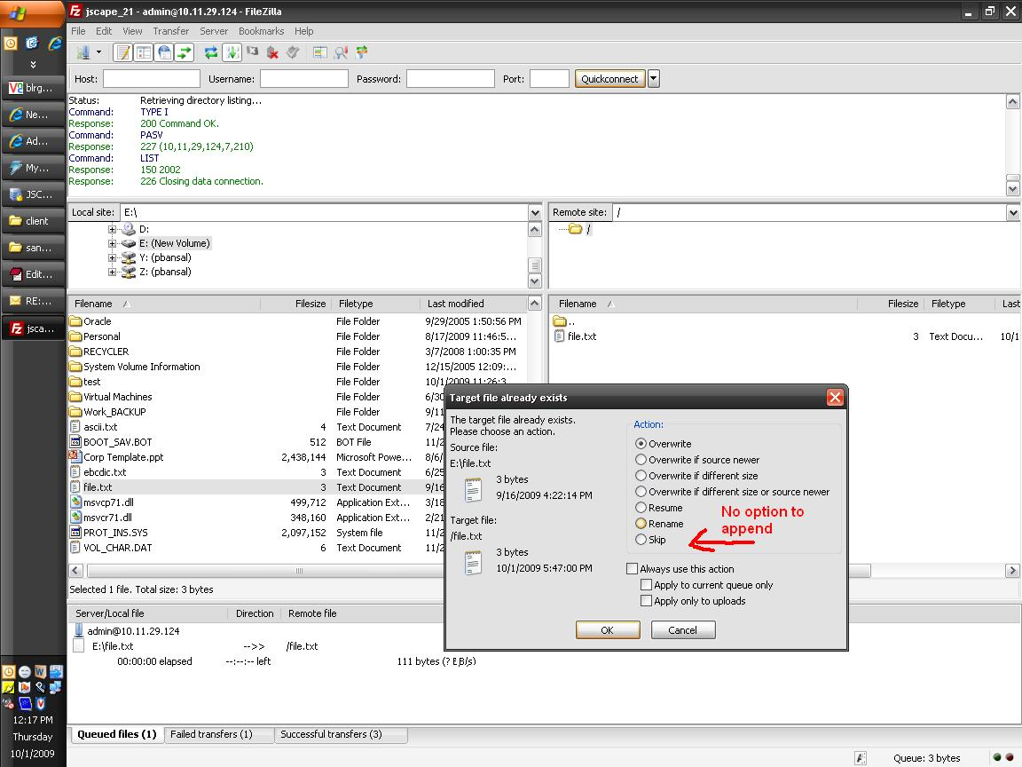 4840 filezilla client do not allow to append appe to existing