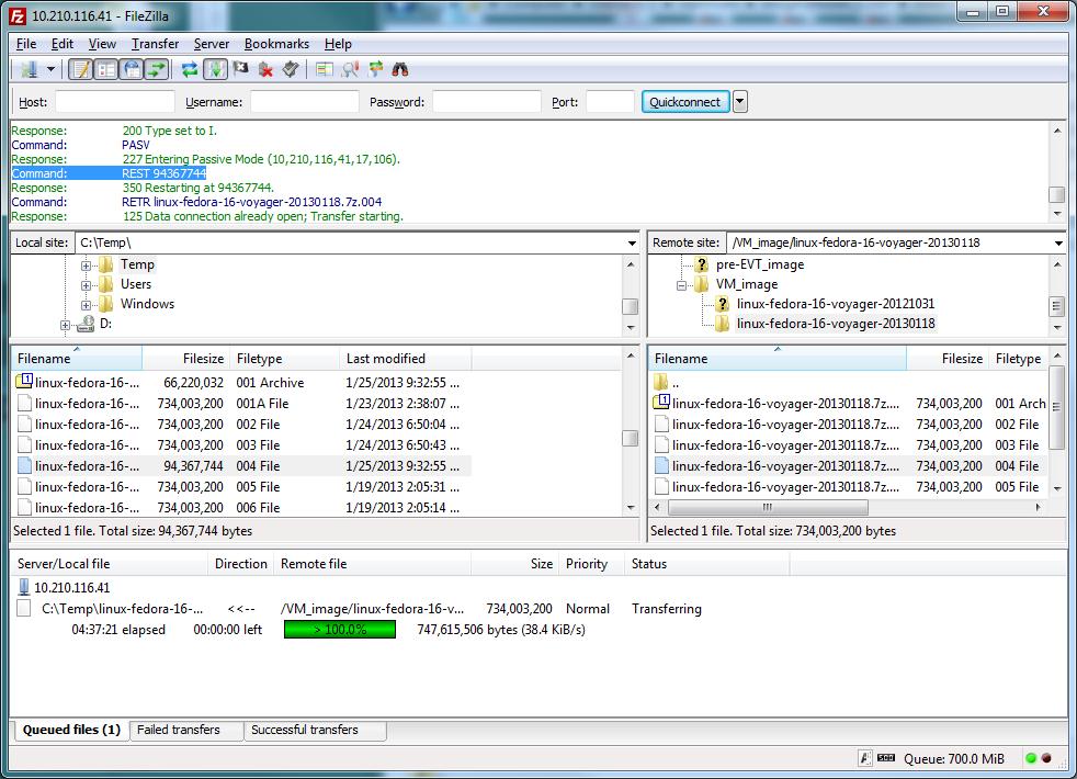 8442 resume creating larger file than the original file filezilla